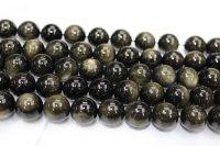 ゴールデンオブシディアン 高級品 一連売り 8mm〜14mm 丸玉 天然石卸 ANO-3