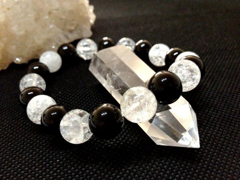 オニキス × クラック水晶 10mm パワーストーン 天然石 ブレスレット A-8
