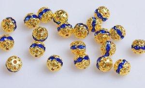 画像4: ボールロンデル (くす玉ロンデル) 100個セット ブルー 青 6mm〜10mm アクセサリーパーツ 天然石 激安 RON-6