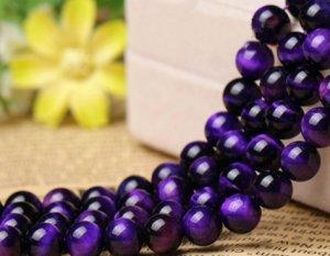 画像1: パープルタイガーアイ 紫虎眼石 希少 丸玉 6mm〜14mm 数珠 念珠 卸売り