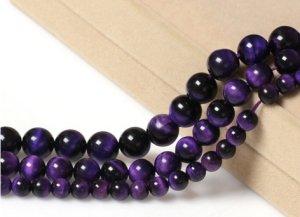 画像2: パープルタイガーアイ 紫虎眼石 希少 丸玉 6mm〜14mm 数珠 念珠 卸売り