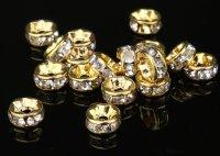 平型 ロンデル ゴールド×クリア 1000個セット サイズ 4mm〜12mm アクセサリーパーツ 天然石 激安 スワロフスキー