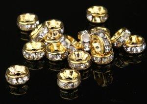 画像1: 平型 ロンデル ゴールド×クリア 1000個セット サイズ 4mm〜12mm アクセサリーパーツ 天然石 激安 スワロフスキー