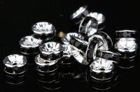 平型 ロンデル シルバー×ブラック 1000個セット サイズ 4mm〜12mm アクセサリーパーツ 天然石 激安 スワロフスキー