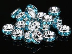 画像1: 平型 ロンデル シルバー×ライトブルー 1000個セット サイズ 4mm〜12mm アクセサリーパーツ 天然石 激安 スワロフスキー