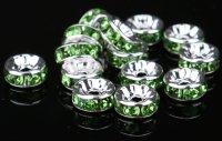 平型 ロンデル シルバー×グリーン 1000個セット サイズ 4mm〜12mm アクセサリーパーツ 天然石 激安 スワロフスキー