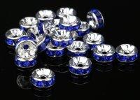 平型 ロンデル シルバー×ネイビー 1000個セット サイズ 4mm〜12mm アクセサリーパーツ 天然石 激安 スワロフスキー