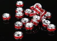平型 ロンデル シルバー×レッド 1000個セット サイズ 4mm〜12mm アクセサリーパーツ 天然石 激安 スワロフスキー