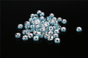 画像2: 平型 ロンデル シルバー×ライトブルー 1000個セット サイズ 4mm〜12mm アクセサリーパーツ 天然石 激安 スワロフスキー