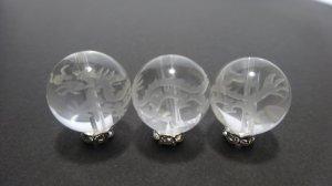 画像1: 彫り水晶 四神 青龍 白彫り 8mm〜14mm  風水 四神獣 彫刻水晶