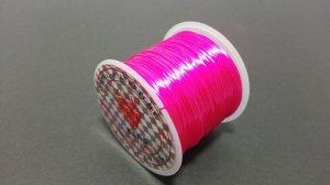 画像1: オペロンゴム ビビッドピンク 水晶の線 ブレスレット作成用 太さ約0.8mm 長さ約70m ポリウレタン シリコンゴム