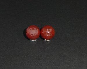 画像2: 彫りレッドアゲート 干支 (十二支) 素彫り 8mm〜14mm 誕生月 彫刻水晶 連販売