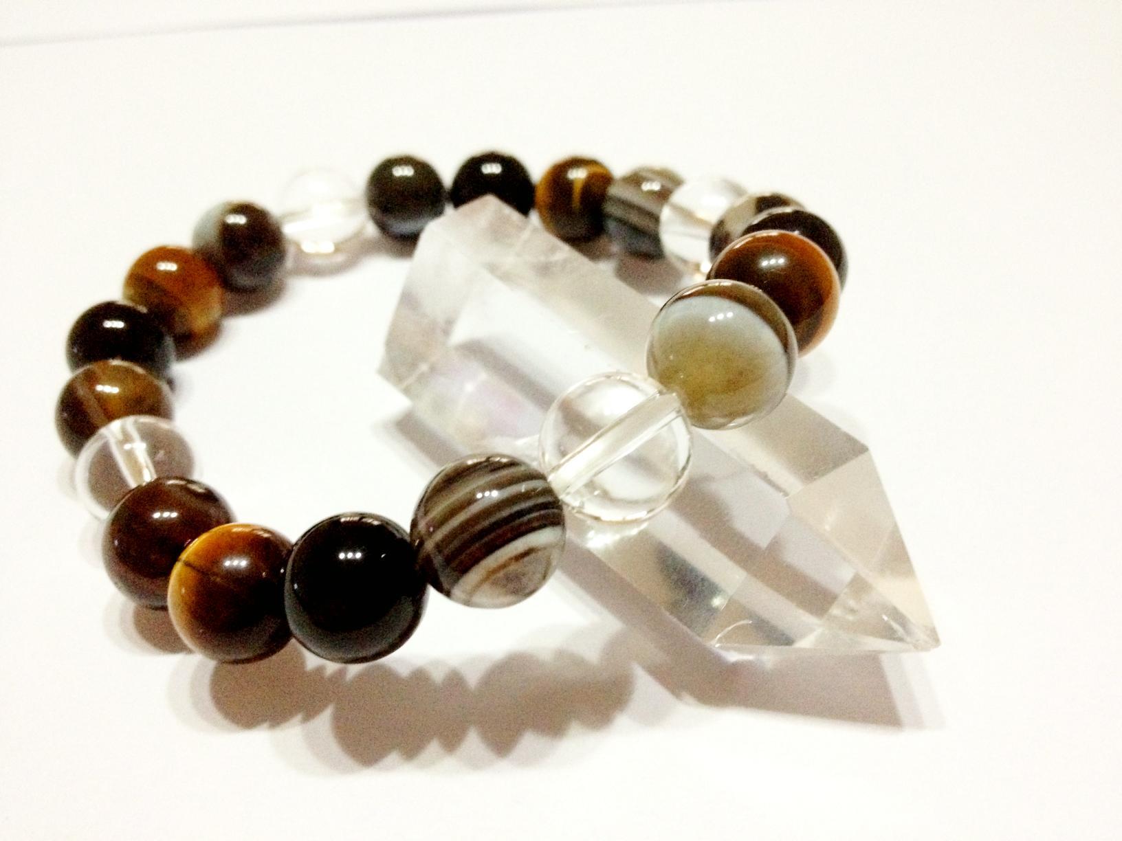 天眼石 × タイガーアイ × オニキス × クリスタル水晶 10mm パワーストーン 天然石 ブレスレット C-1