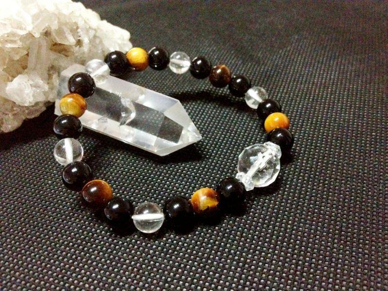 オニキス × タイガーアイ × 水晶 8mm + クリスタル水晶 64面 カット12mm パワーストーン 天然石 ブレスレット C-3